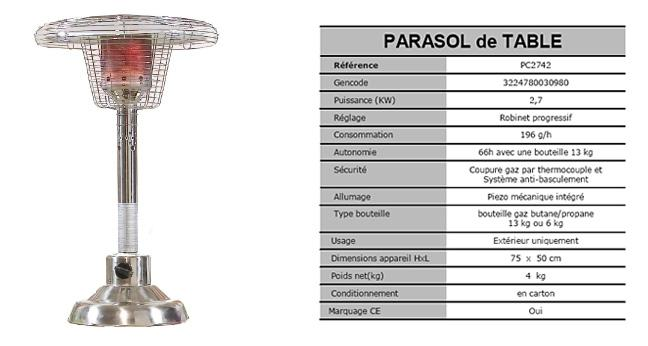 Parasol chauffant de table en inox for Parasol chauffant de table