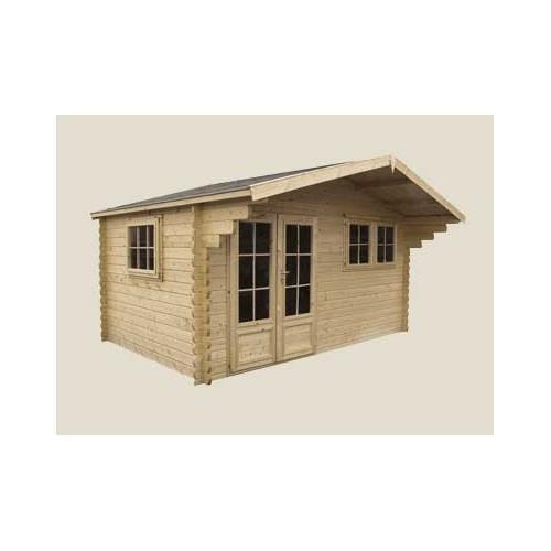 Chalet de jardin en bois avec auvent 5 05 x 4 15 m for Auvent de jardin en bois