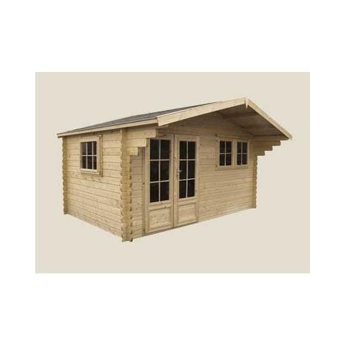 Chalet en bois plain-pied / madrier 44 mm / 26.83 m² / en kit / toit double pente