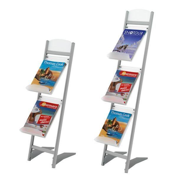 Présentoir pliable d'exposition pour brochure, magazine avec fronton