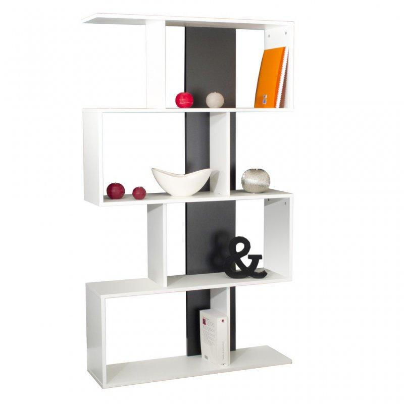 box etagere bibliotheque ouverte couleur blanc et gris. Black Bedroom Furniture Sets. Home Design Ideas