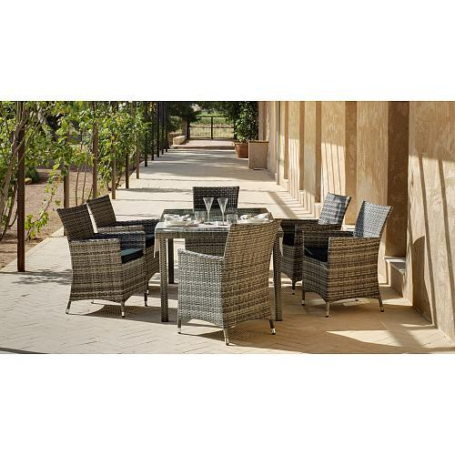 table de jardin maracaibo 150 cm et 6 fauteuils avec coussins gris indoor outdoor comparer les. Black Bedroom Furniture Sets. Home Design Ideas