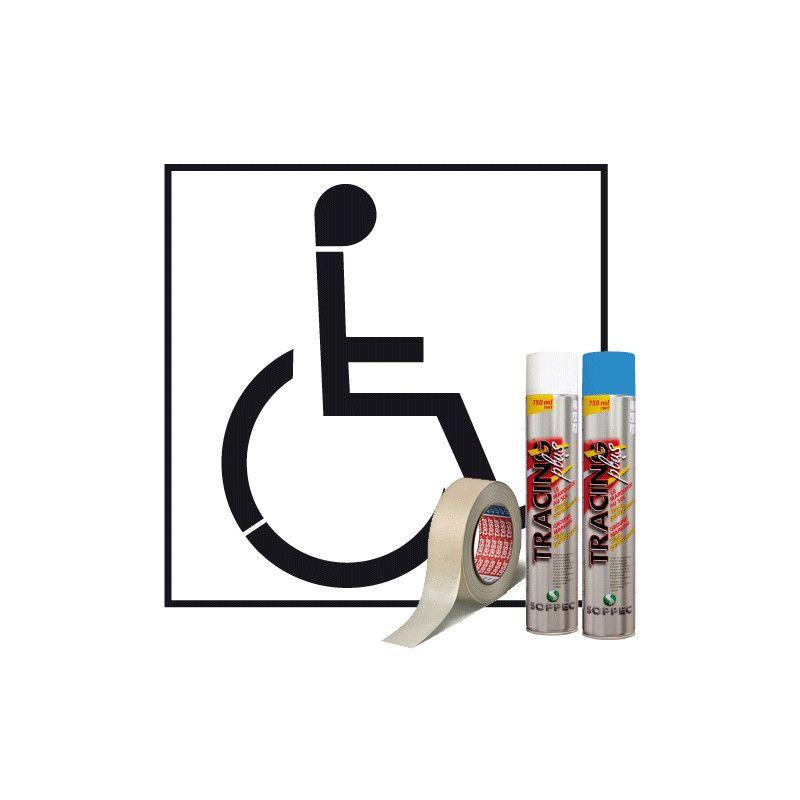 W1001 - pochoir handicapé - signalétique biz - avec peinture blanche