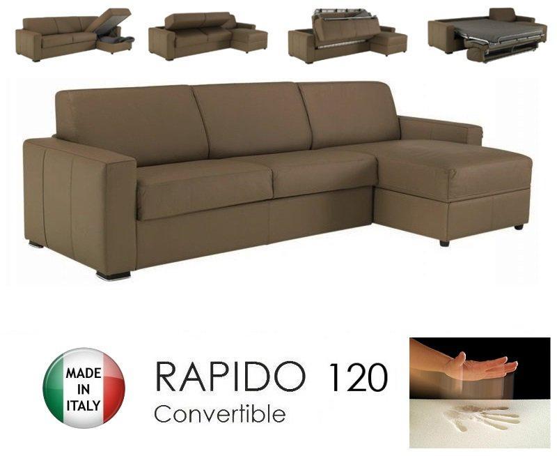 canape d 39 angle dreamer rapido 120cm cuir vachette taupe matelas memoire de forme. Black Bedroom Furniture Sets. Home Design Ideas