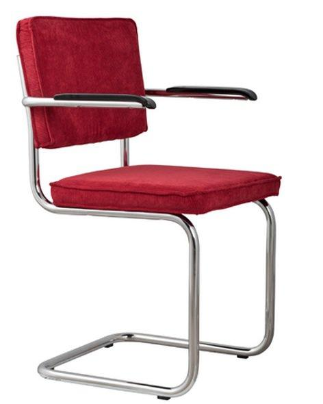 chaise zuiver ridge rib velours rouge avec cadre chrome. Black Bedroom Furniture Sets. Home Design Ideas