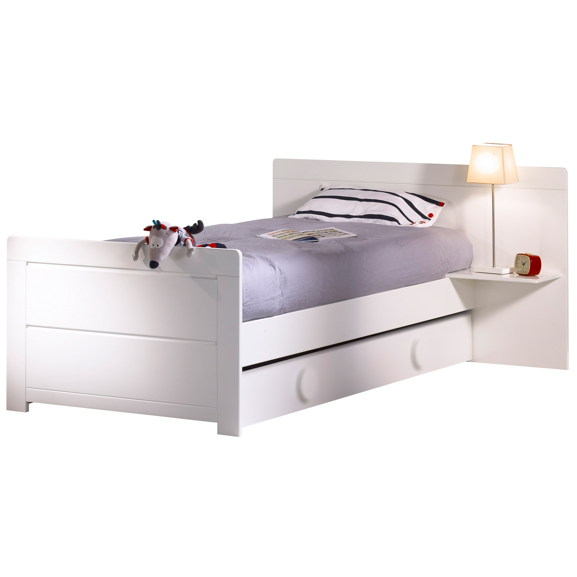 lit pour enfant zen blanc junior cm chevet. Black Bedroom Furniture Sets. Home Design Ideas