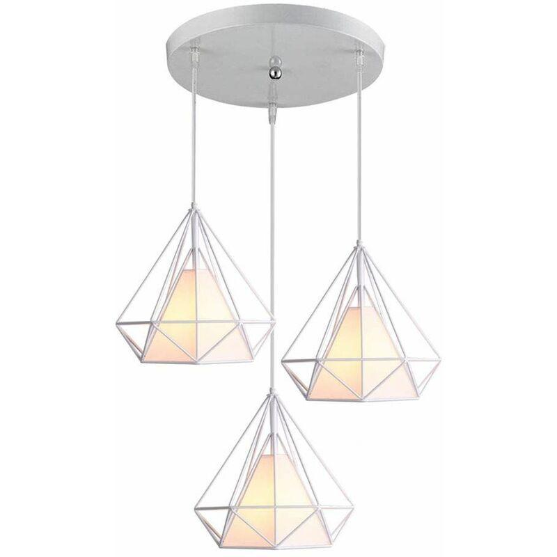 Lustre Suspension Industrielle De 3 Lampes Plafonnier En Metal Fer