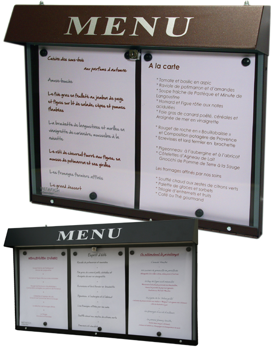 Porte menu for Porte menu exterieur restaurant