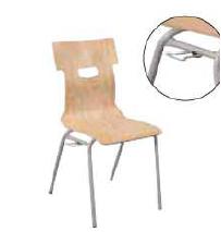 Chaise coque bois confort ast 4 pieds ø 20 accrochable t6