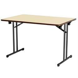 table rectangulaire pliante brescia plateau beige pietement noir longueur 180 x largeur 80 cm. Black Bedroom Furniture Sets. Home Design Ideas
