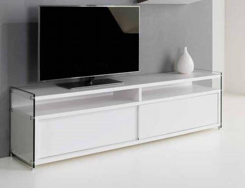 MEUBLE TV TALAC 2 PORTES COULISSANTES BLANC MAT Comparer ...
