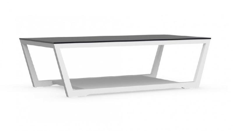 calligaris table basse element blanche avec plateau en verre noir