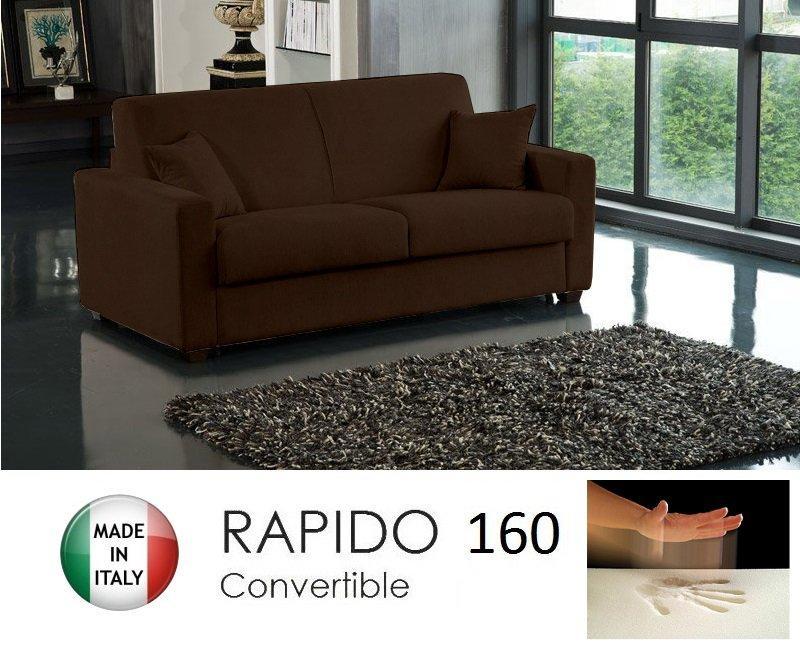 canape convertible rapido 160cm dreamer tissu microfibre marron matelas 160 14 190 cm a memoire. Black Bedroom Furniture Sets. Home Design Ideas
