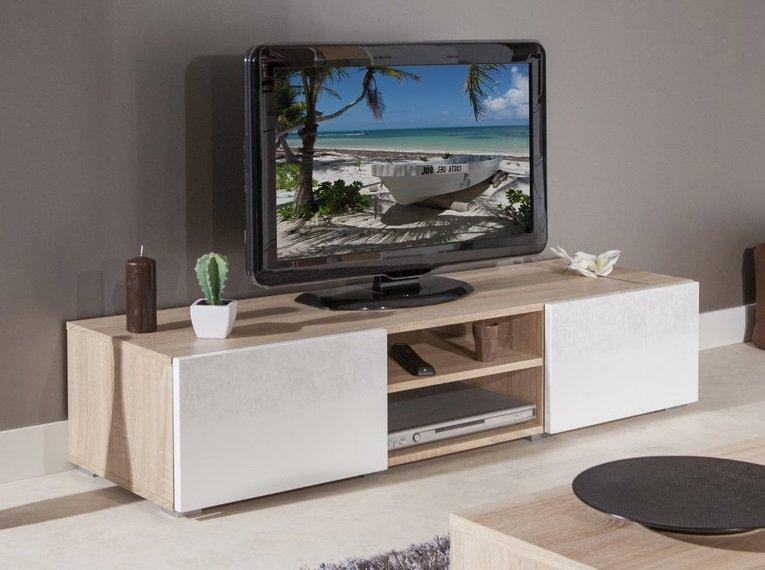 Atlantic. meuble tv structure chêne bardolino et portes laquées blanc brillant. moyen modèle