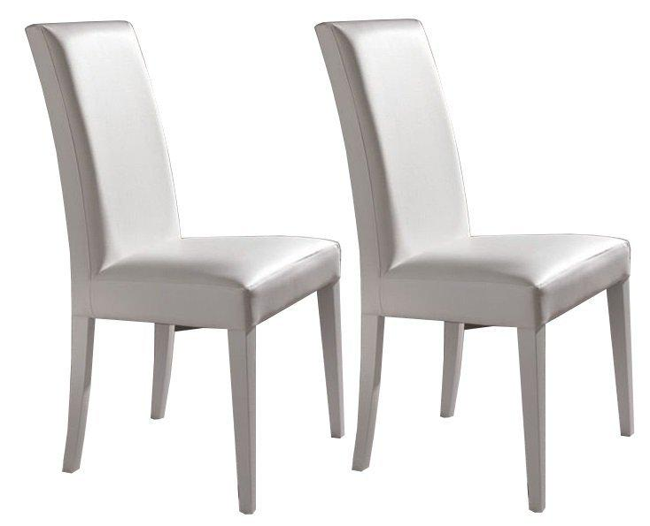lot de 2 chaises design italienne vertigo lux en tissu enduit polyurethane simili facon cuir blanc. Black Bedroom Furniture Sets. Home Design Ideas