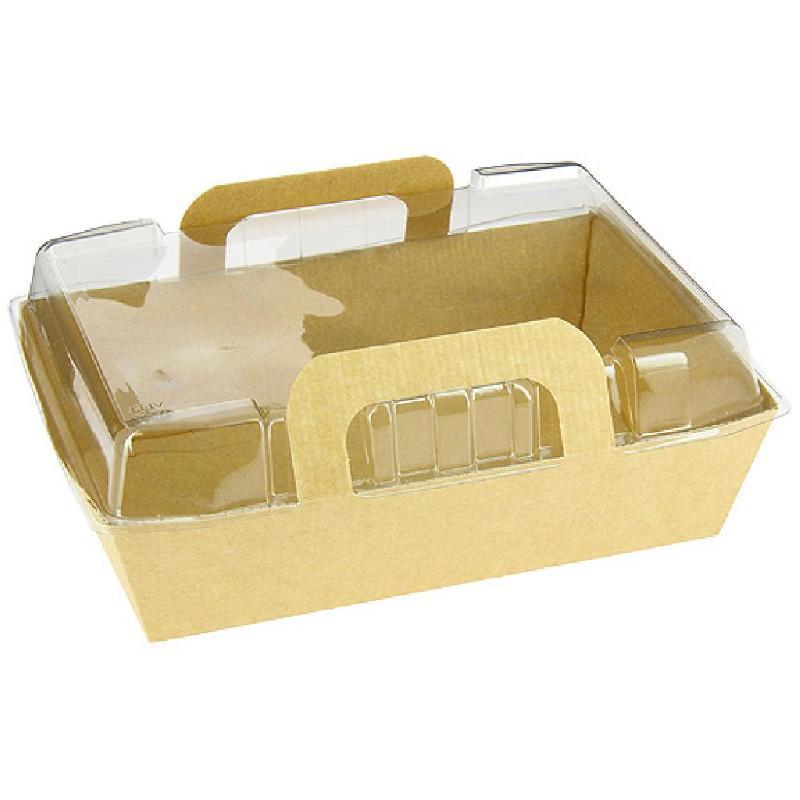 PANIER SALADE CARTON KRAFT BRUN 170X112X50 + COUVERCLE (200+200) FIRPLAST