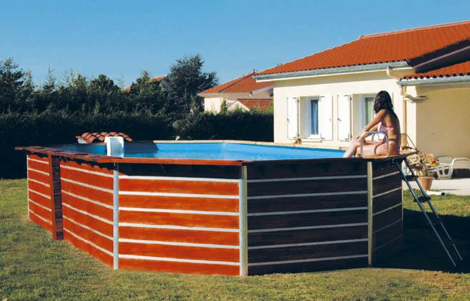 Piscine evolux en bois de teck for Piscine demontable bois
