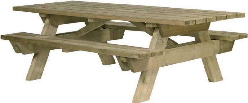 Plan table de jardin en bois avec banc integre jsscene for Banc de table en bois