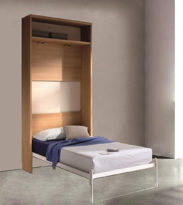 Armoire lit escamotable atlas cerisier couchage 90 190cm - Lit 2 place conforama ...