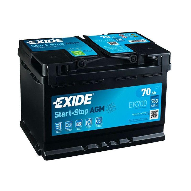 BATTERIE EXIDE AGM START AND STOP EK700 12V 70AH 760A FK700