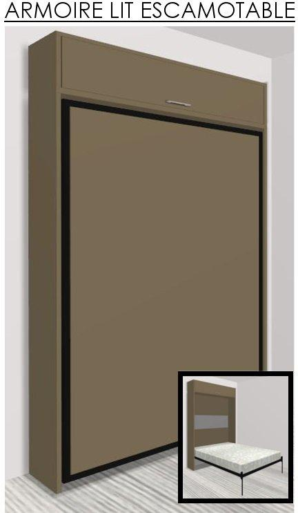 armoire lit escamotable eos taupe mat couchage 140 22 190 cm. Black Bedroom Furniture Sets. Home Design Ideas