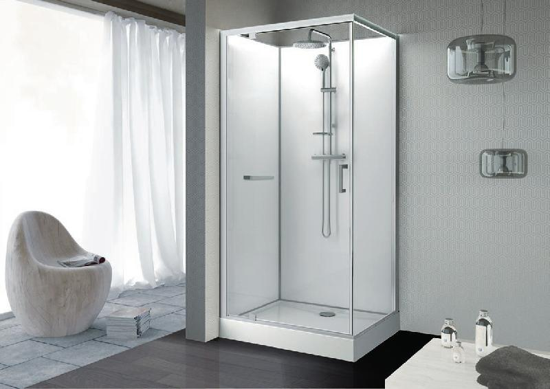 cabine de douche kara rectangle 100x80 porte pivotante verre transparent avantage blanc ref. Black Bedroom Furniture Sets. Home Design Ideas