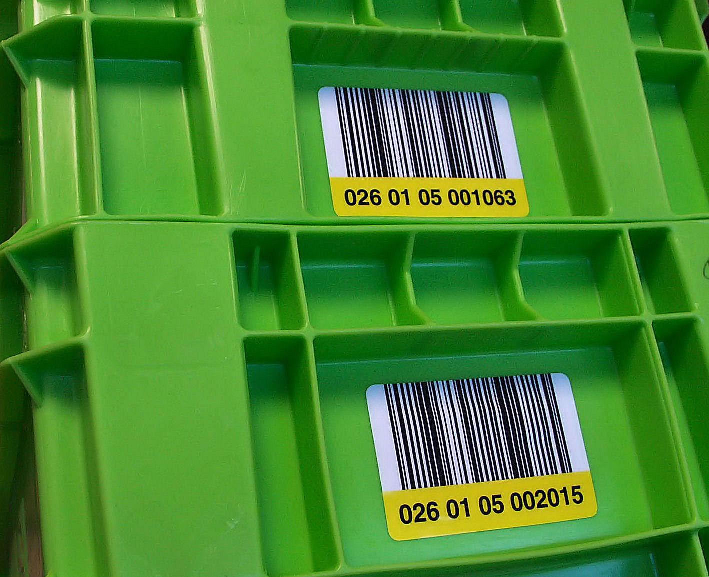 Etiquettes codes à barres pour bacs conteneurs et palettes