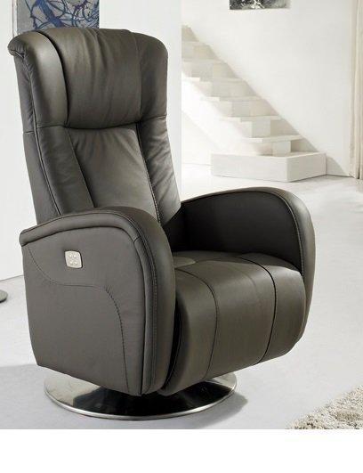 desire fauteuil relax electrique cuir vachette gris. Black Bedroom Furniture Sets. Home Design Ideas