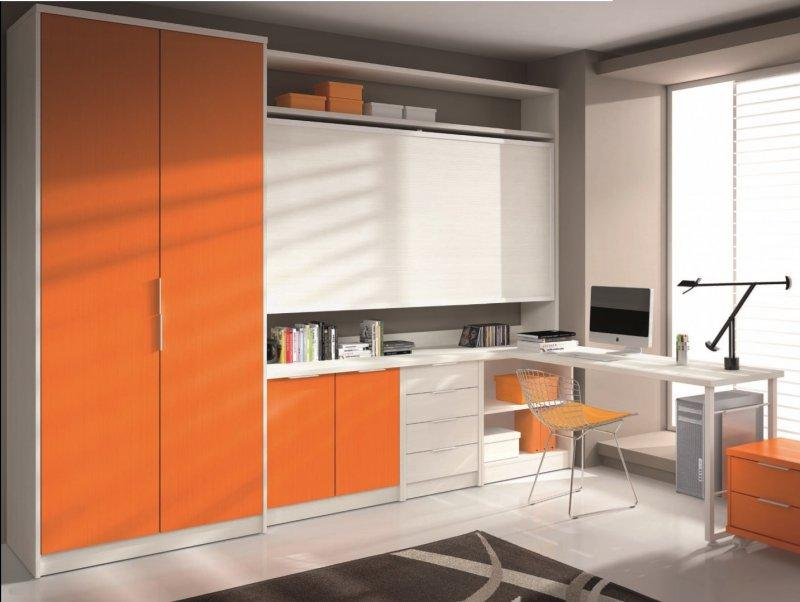 armoire lit transversale artemis orange et blanc avec bureau et rangements couchage 90 190cm. Black Bedroom Furniture Sets. Home Design Ideas