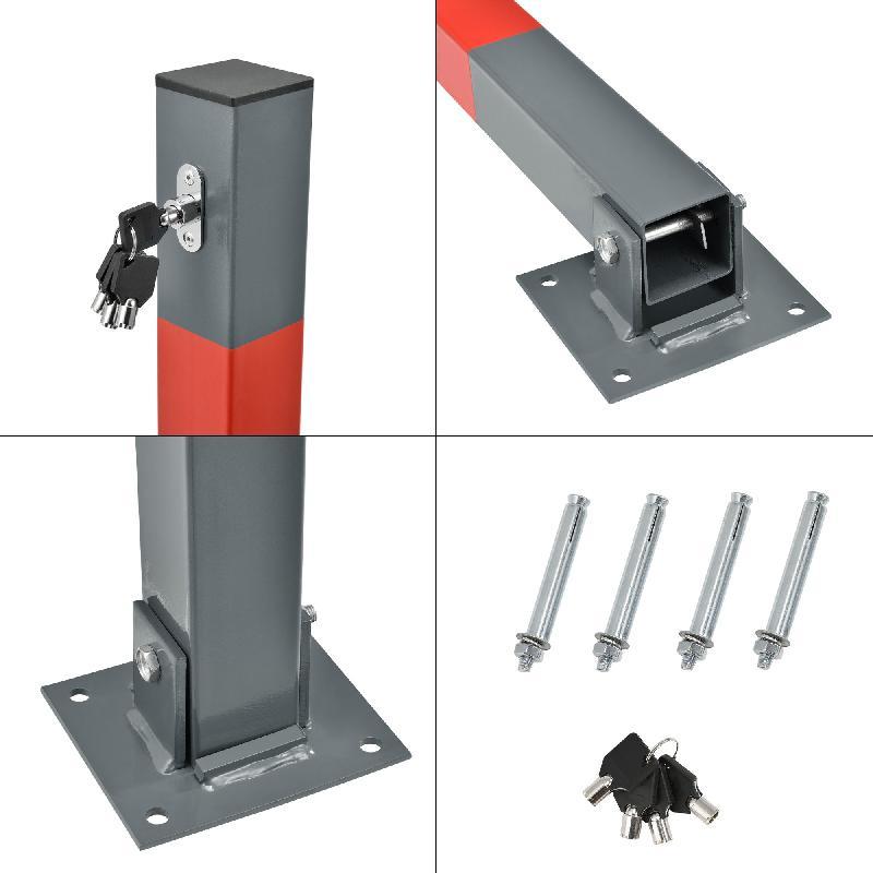 Barrière de parking avec 4 clés acier galvanisé colonne 03_0001065