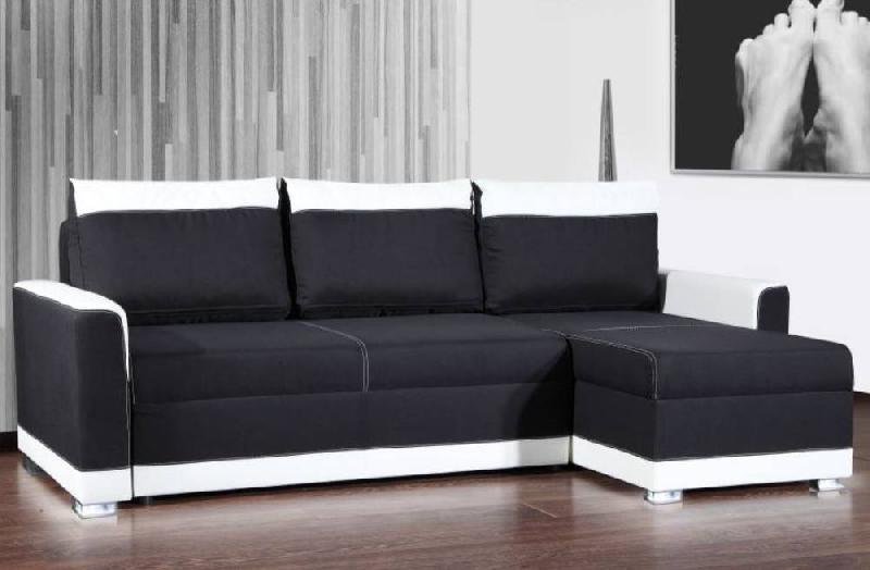 canap d 39 angle gigogne convertible express carlow noir et blanc avec pi tement led couchage 140. Black Bedroom Furniture Sets. Home Design Ideas