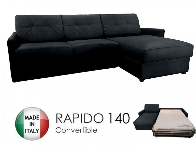 canape d 39 angle reversible ouverture rapido cube deluxe 140 cm coffre cuir vachette noir. Black Bedroom Furniture Sets. Home Design Ideas