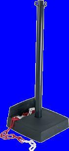 Poteau PVC Noir avec réserve de chaîne sur socle lesté 6kg - 2000789