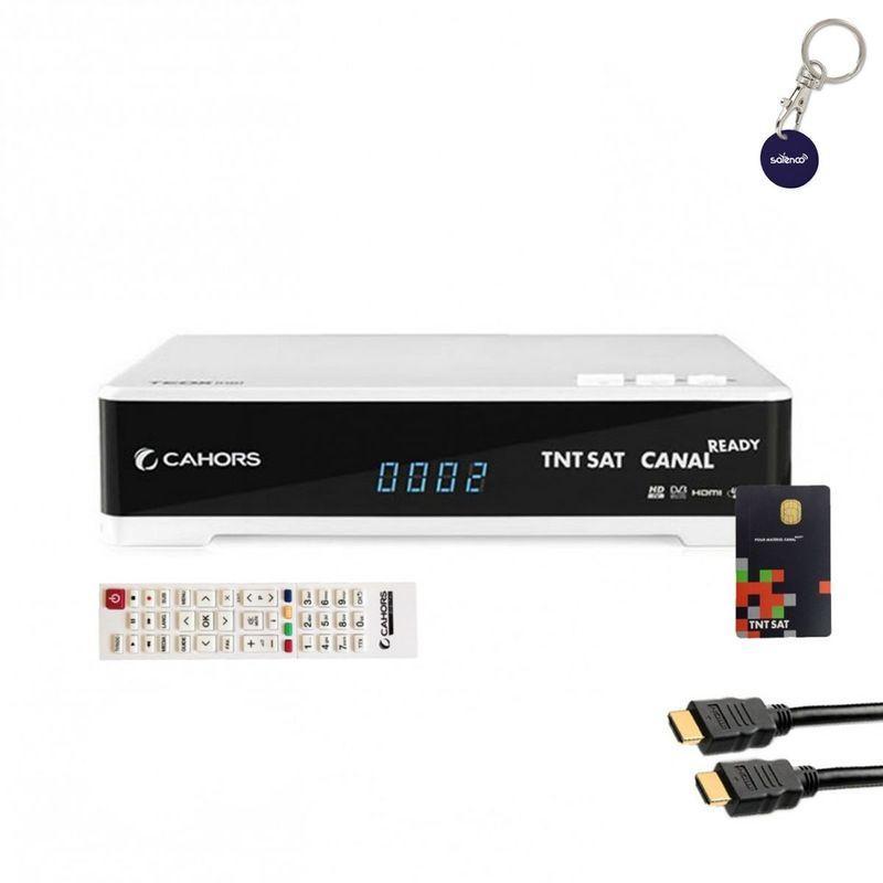 CAHORS MINI RÉCEPTEUR TV SATELLITE HD + CARTE D'ACCÈS TNTSAT V6 + CÂBLE HDMI - BLANC