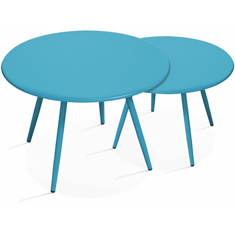 TABLE BASSE DE JARDIN RONDE Ø50CM ACIER THERMOLAQUÉ - VERT ...
