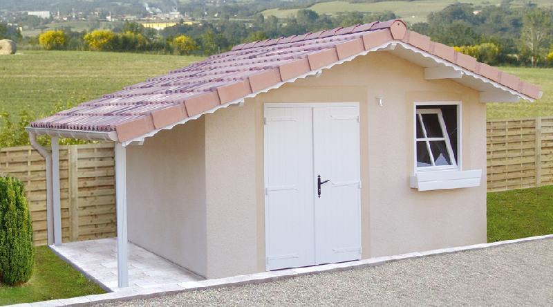 Abri de jardin en beton 2 pentes couverture tuiles entree en pignon ...
