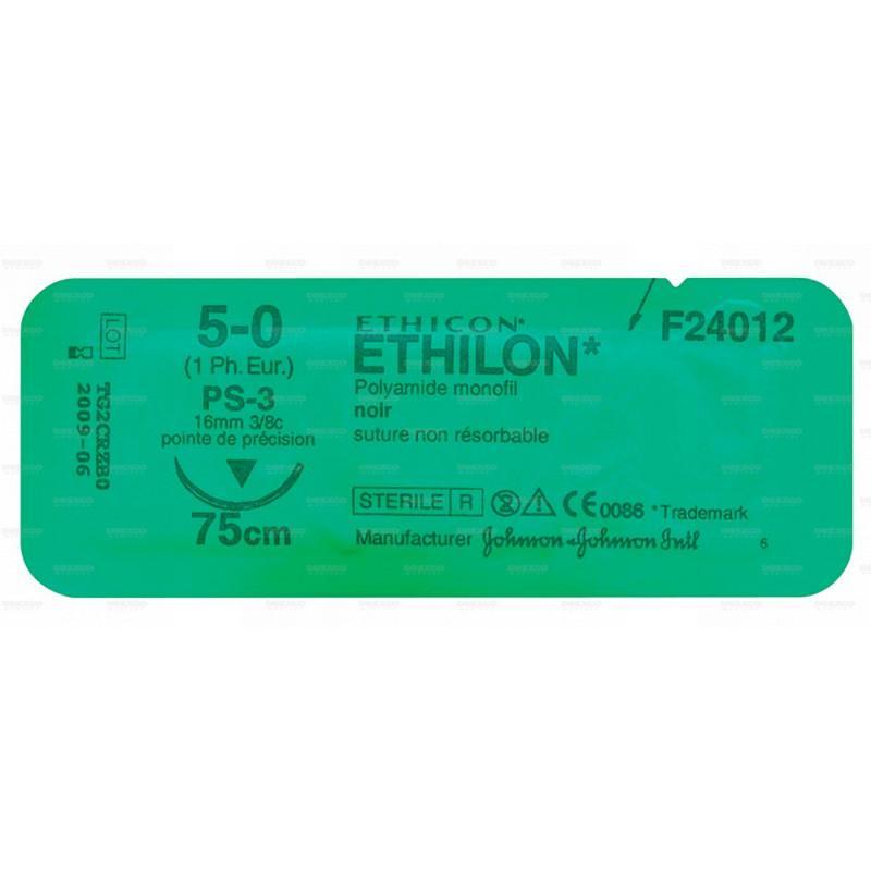 Fil de suture ethilon noir ethicon - lot de 3 - réf : 15075