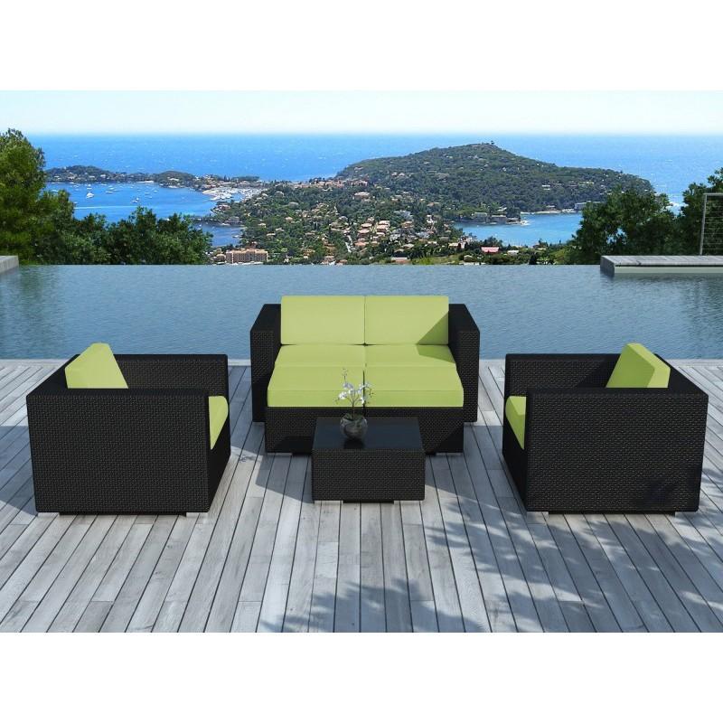 Salon de jardin en resine tressee portofino vert & noir