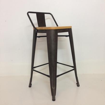 Tabouret De Bar En Metal Factory Avec Dossier Antique Rustic Mat
