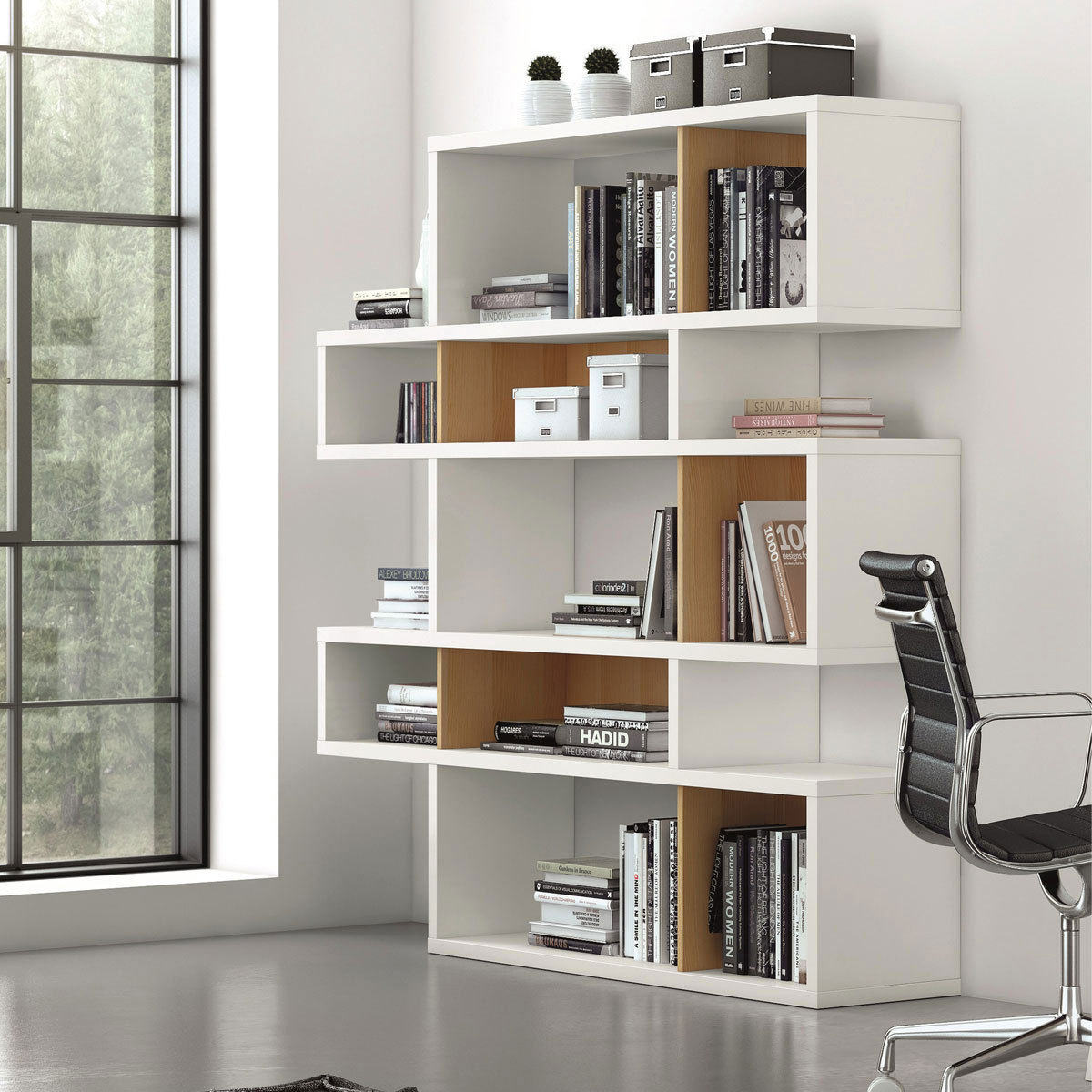 temahome etagere bibliotheque london 5 niveaux chene blanc. Black Bedroom Furniture Sets. Home Design Ideas