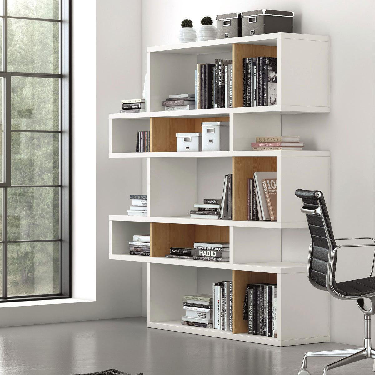 temahome etagere bibliotheque london 5 niveaux chene blanc. Black Bedroom Furniture Sets. Home Design Ideas