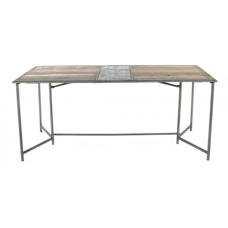 table de salle a manger rectangulaire teck recycle et pieds metal 180 cm. Black Bedroom Furniture Sets. Home Design Ideas