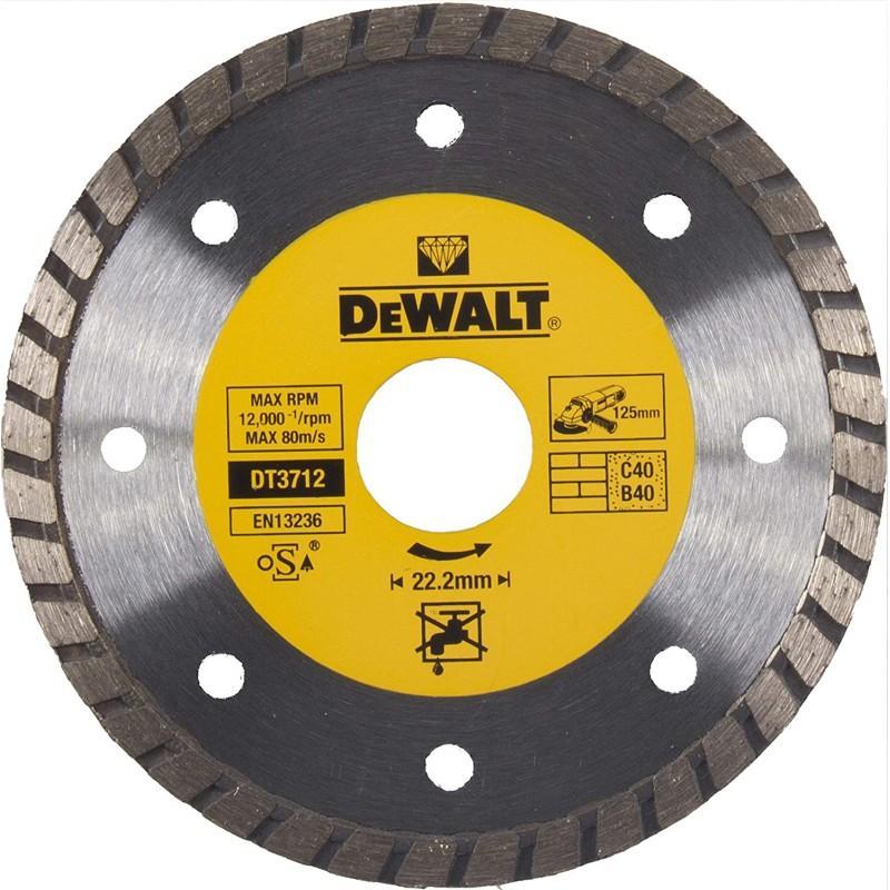 Dewalt dt3712-qz disque turbo pour matériaux de construction/béton 125x22.2mm 22.2