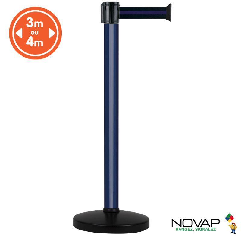 Poteau alu bleu à sangle Noir/Bleu sur socle portable - Novap