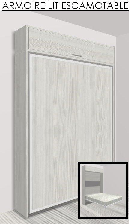 armoire lit escamotable eos chene blanc couchage 140 22 200 cm. Black Bedroom Furniture Sets. Home Design Ideas