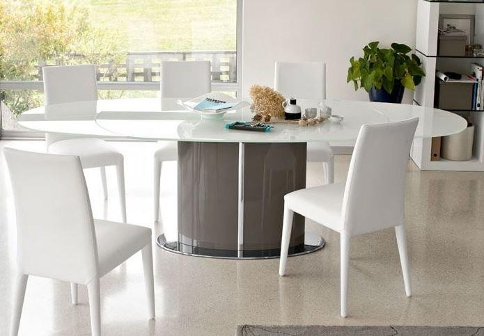 Calligaris table repas ovale extensible odyssey 165x105 en for Table ovale extensible blanc