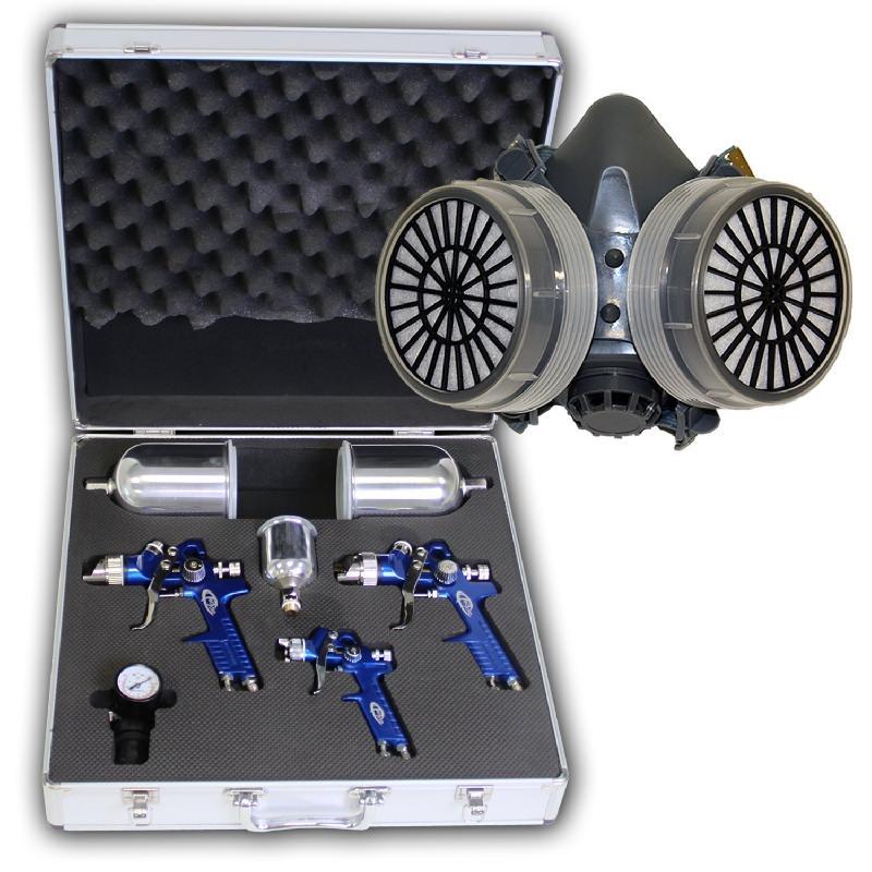 Set de 3 pistolets de laquage avec coffret aluminium 0,8 mm + 1,3 mm + 1,7 mm + masque de laquage 3408062