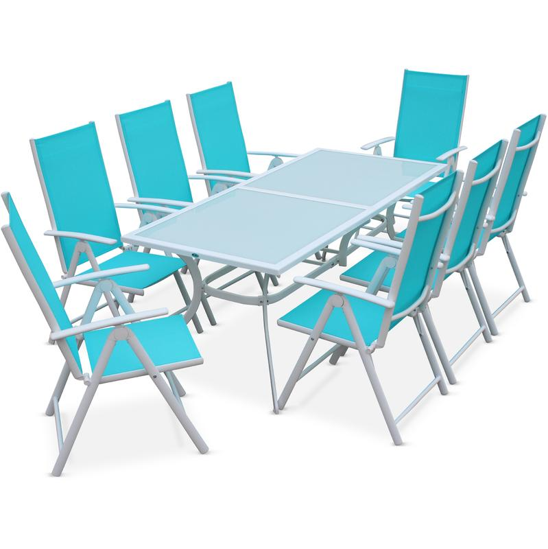 salon de jardin en aluminium table 8 places blanc textil ne fauteuil turquoise alice 39 s garden. Black Bedroom Furniture Sets. Home Design Ideas