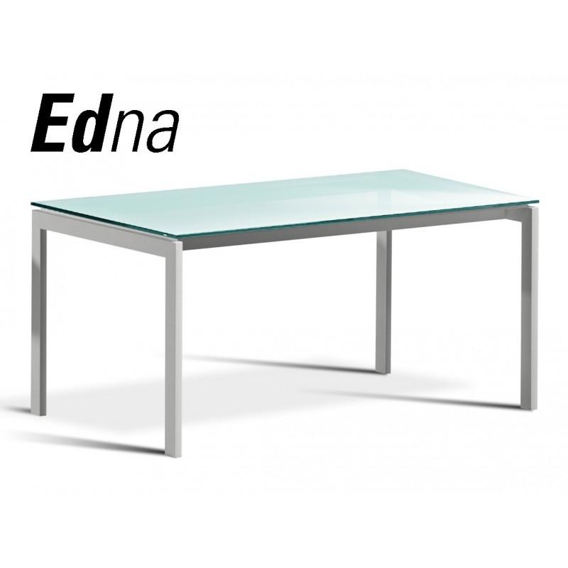 Table a manger edna pietement acier plateau verre depoli couleur blanc ou noir - Table salle a manger plateau verre ...