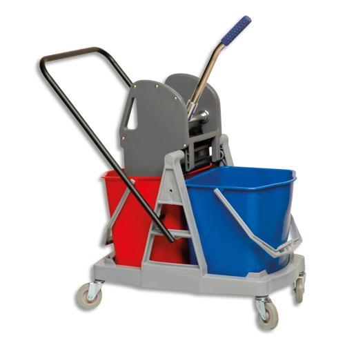 Brosserie thomas chariot d entretien gris + presse à machoires en pp et métal, 2 seaux de 18l rouge bleu